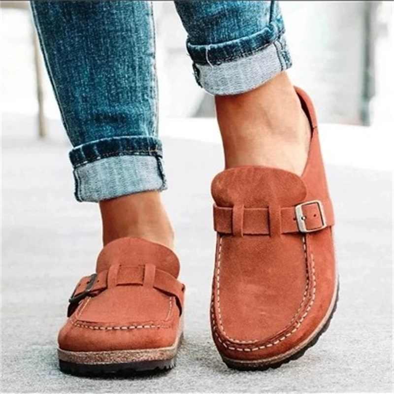 2020 kadın düz ayakkabı yaz bahar sandalet moda katı toka kadın Flats ayakkabı rahat plaj bayanlar artı boyutu yaz ayakkabı