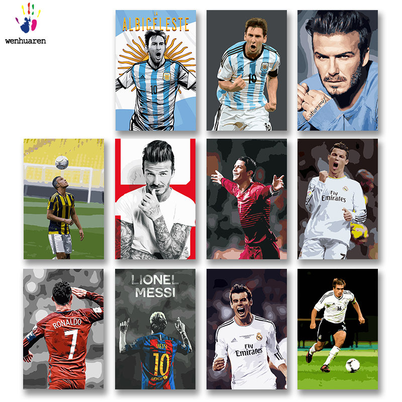 DIY Colorings Pictures By Numbers With Colors Beckham Cristiano Ronaldo Messi Picture Drawing Painting By Numbers Framed Home