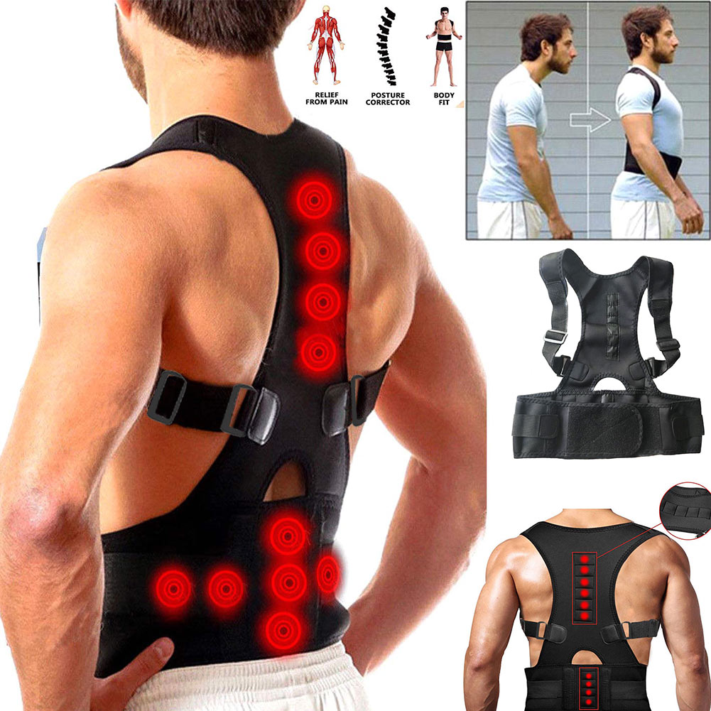 Male Corset Body Shaper 2019 Hot Sale Unisex Adults Students Black Posture Corrector Support Magnetic Back Shoulder Brace Belts