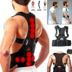 Brace-Belts Corrector-Support Body-Shaper Male Corset Posture Magnetic-Back Black Shoulder