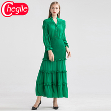 Early Autumn Women Long Dresses 2019 Fashion Full Lantern Sleeves Green Wasit Elastic Elegant Draped New Dress