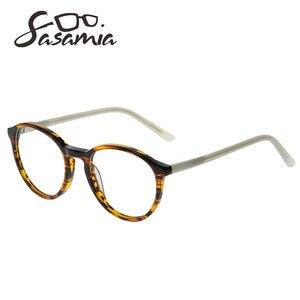 Image 3 - SASAMIA gözlük yuvarlak Retro Demi gözlük kadın optik daire gözlük çerçeve Vintage asetat gözlük çerçeveleri kadin Trends