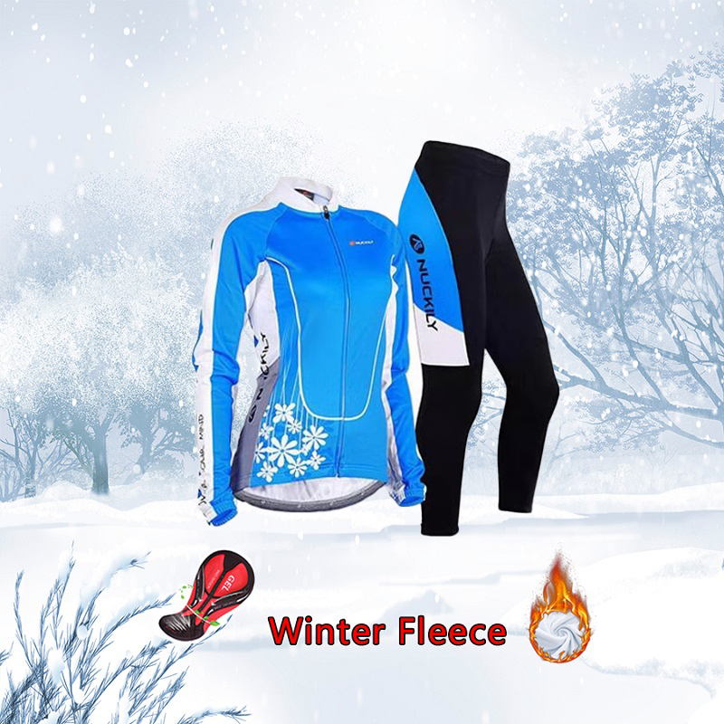 Women winter cycling jersey warm set Thermal Fleece bike clothing 2020 Bicycle clothes Female suit sport dress skinsuit mtb kit|Cycling Sets| |  - title=