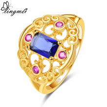 Lingmei Wedding Band Fashion Gorgeous Ring for Women Blue & Green Zircon Silver Yellow Gold Color Size 6 7 8 9 Christmas