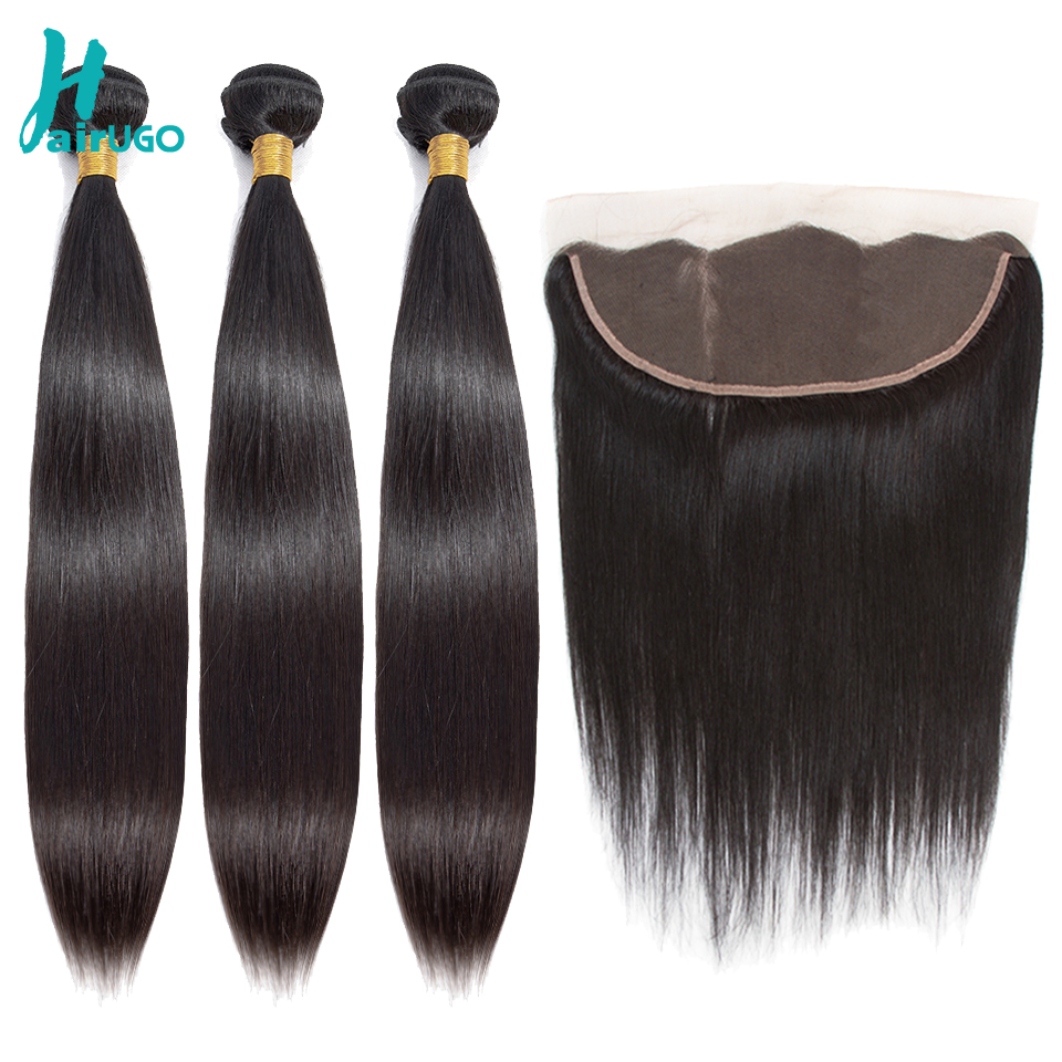 HairUGo Peruvian Straight Hair Weave Bundles With Frontal Closure 13*4Lace Frontal With Bundles Non Remy Hair Extension  Bundles