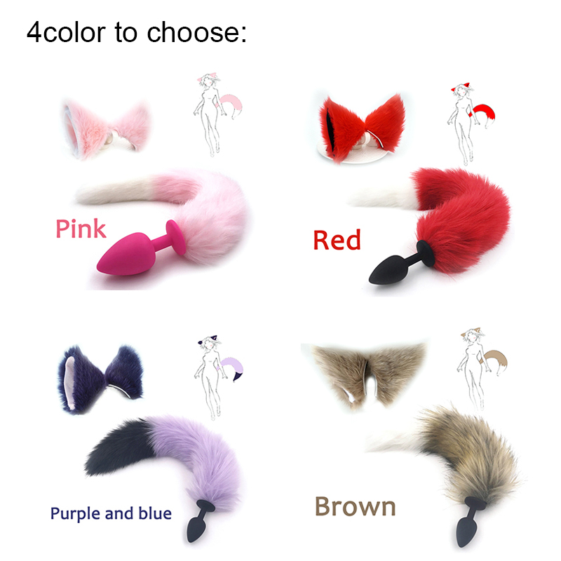 Silicone Plug  Fox Tail Butt Plug And Lovely Ears Anal Sex Toy For Women Adult Games Sex Products And Dildo Vibrator