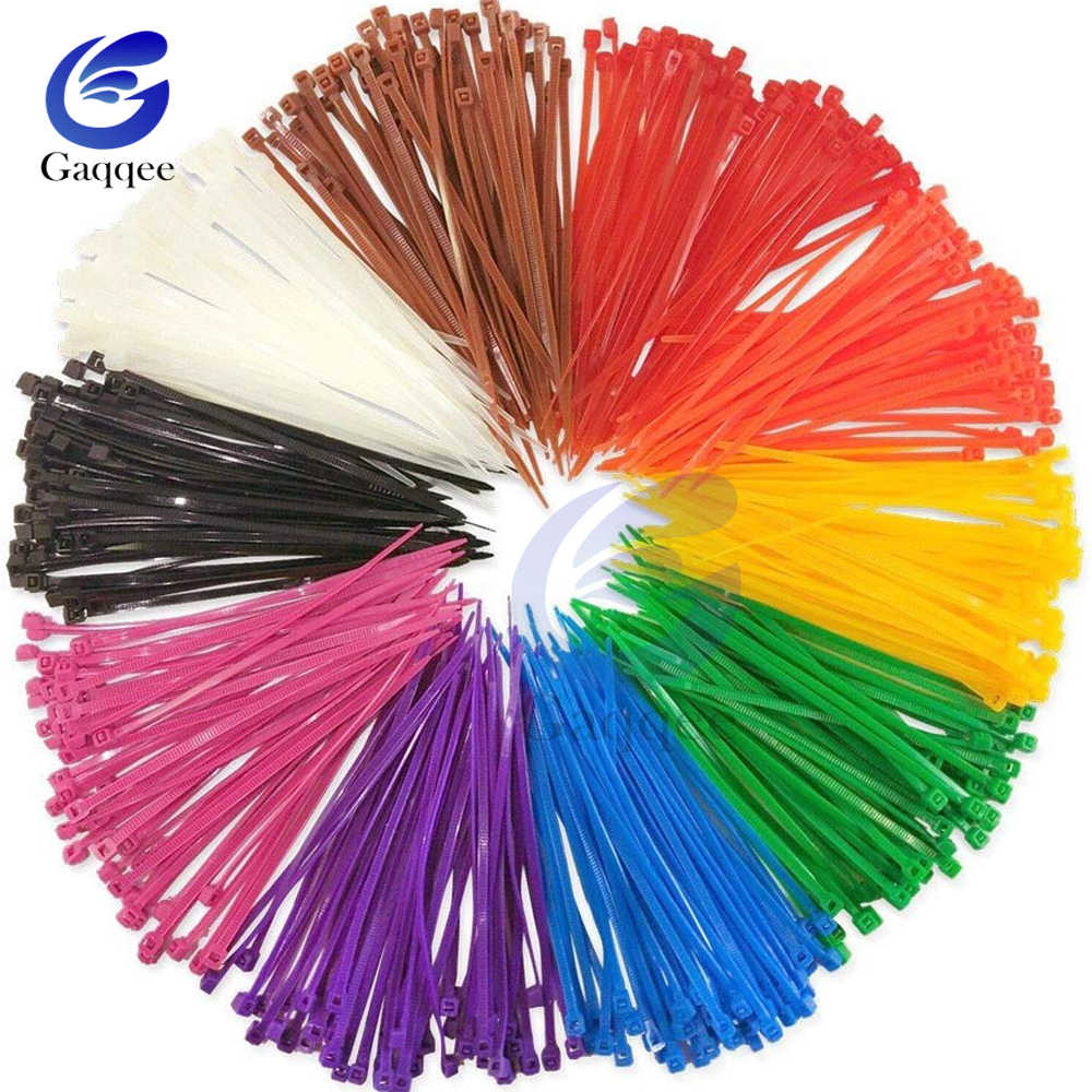 100mm Nylon Cable 100 unids/pack de auto-bloqueo de alambre de Nylon vinculante de las correas 12 ancho de color 2,5mm SGS certificada