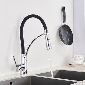 Image 4 - Матовый черный кухонный смеситель для раковины, выдвижной поворотный носик, кухонный смеситель для раковины, установленный на раковину смесители для горячей и холодной воды для ванной комнаты