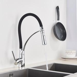 Image 4 - Grifo de fregadero de cocina negro mate extraíble caño giratorio grifo para fregadero de cocina montado en cubierta mezcladores de agua caliente y fría para Baño