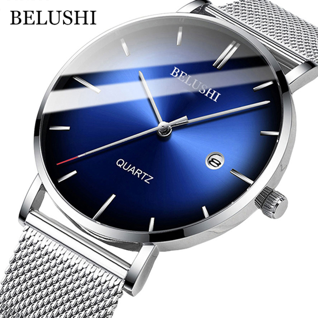 BELUSHI Fashion Mens Watches Top Brand Luxury Slim Steel Mesh Quartz Watch Men Business Waterproof Analog Wrist Watch Male Clock