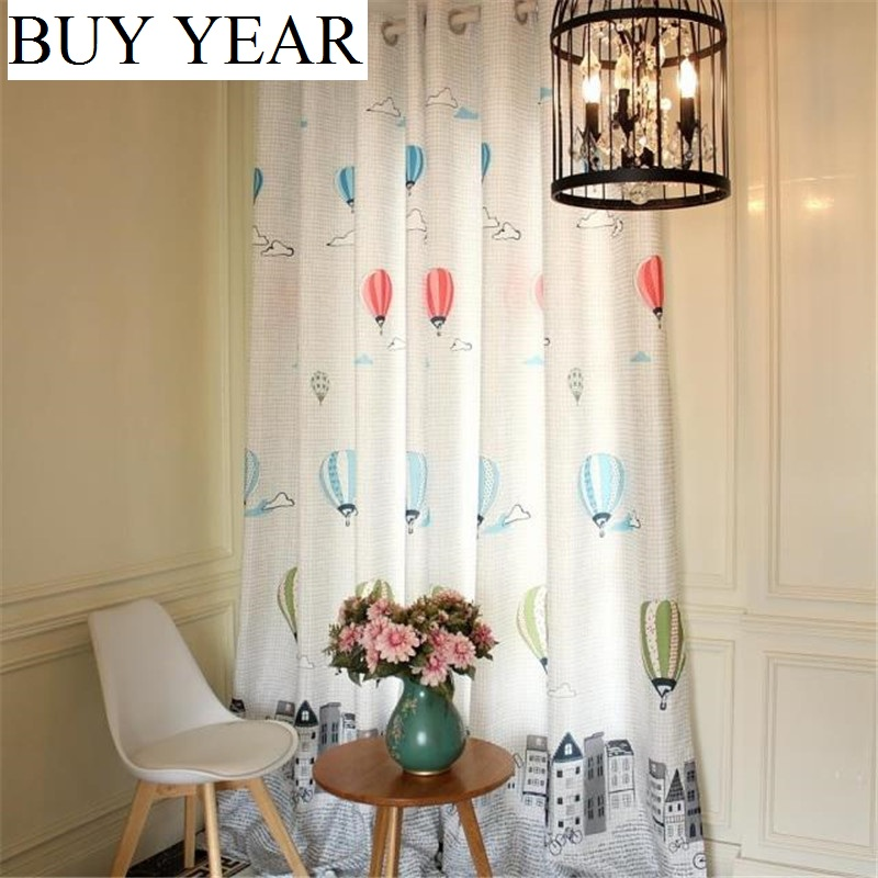 Curtains Balloon-Patterns Bedroom Fresh-Pastoral Printing Living for Kids' Shading title=