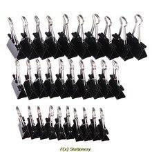 10 unids/lote de Clips de carpeta metálicos, negro, 19mm/ 25mm/ 32mm, Clip de papel para notas, suministros de oficina, Clips de seguridad para encuadernación