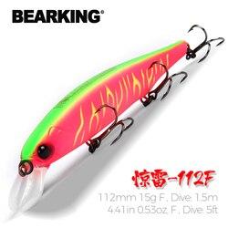 Bearking 112mm 15g Neue heiße modell feste gewicht system angeln lockt harten köder dive 1,5 m qualität wobbler minnow