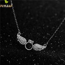 Flyleaf Angel Wings Cubic Zirconia Necklaces & Pendants Real 925 Sterling Silver Necklace For Women Fashion Chain Fine Jewelry(China)