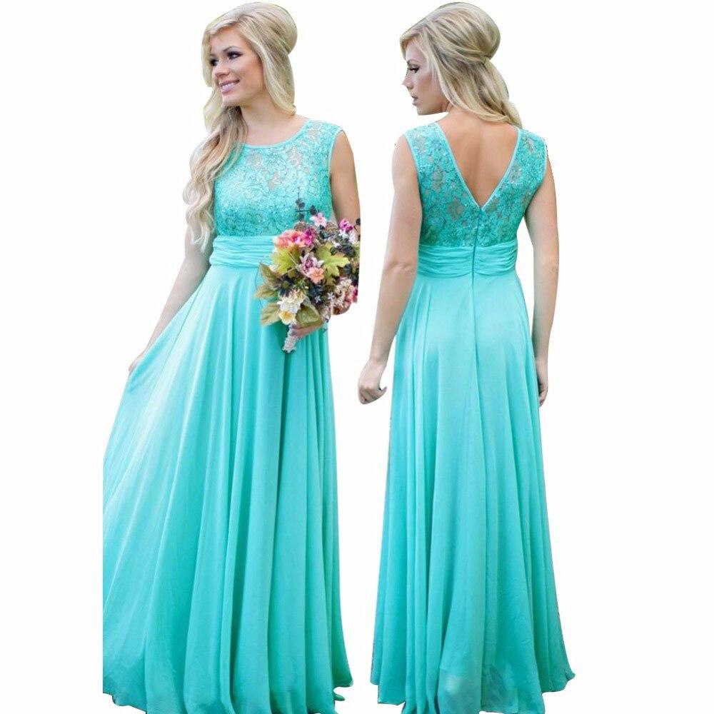 MYYBLE 2020 Elegant Turquoise Bridesmaid Dresses A-line Sequined Lace Wedding Party Dress Chiffon Long Women Dress