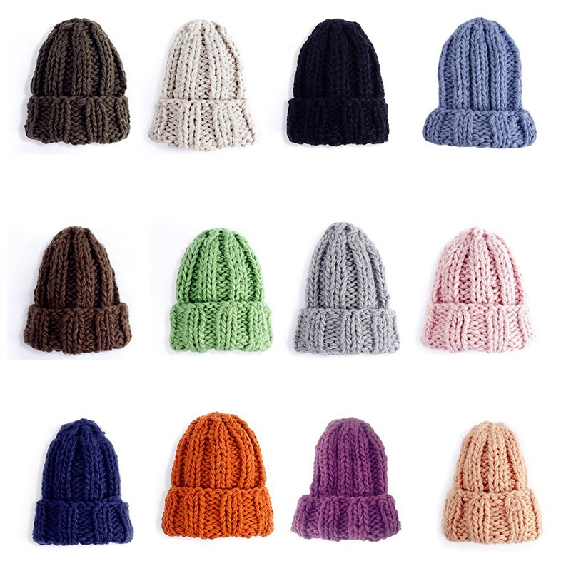 Women Winter Knitted Beanies Hat Thick Soft Warm Coarse Large Knitted Solid Hat Female Ice Ski Bonnet  Beanies Hat Cap