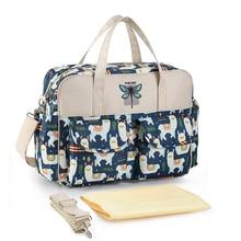 Новая сумка для подгузников с принтом, водонепроницаемая вместительная сумка для мамы, многофункциональная сумка для коляски, уход за ребенком, 10 цветов