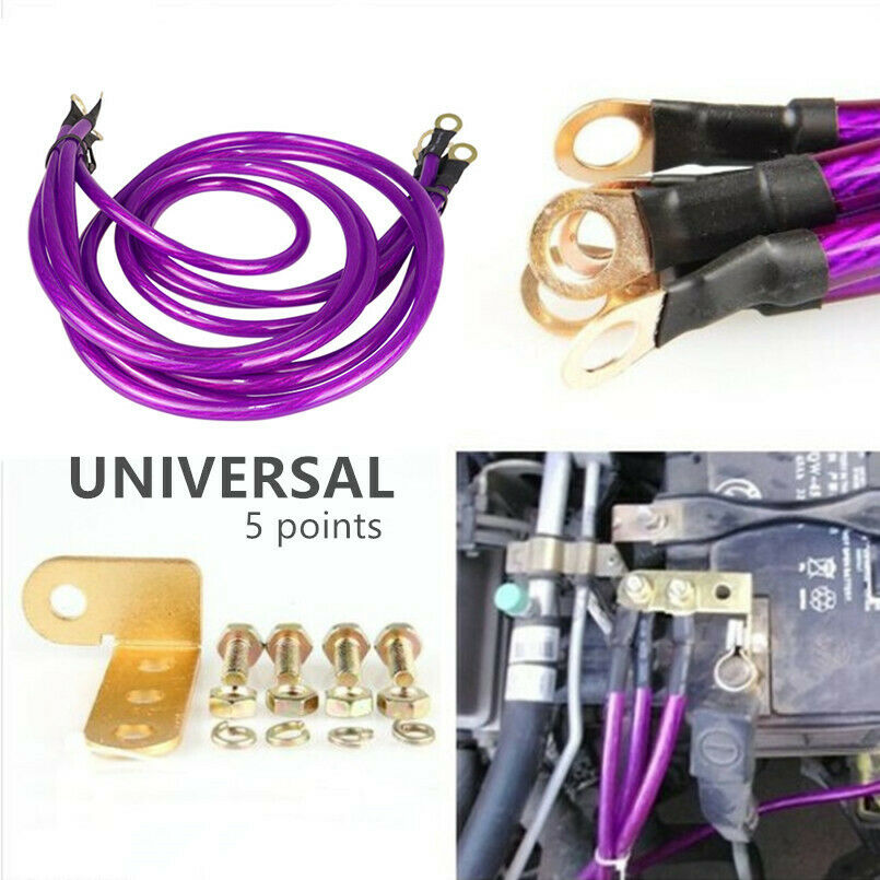 Purple Car Universal 5-Point Grounding Wire Earth Cable System Modification Kit