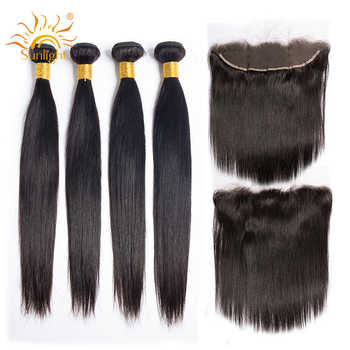 Peruvian Straight Hair Bundles With Frontal 3 / 4 Bundles Sunlight Human Hair With Lace Frontal Closure Non-Remy Hair Extension - DISCOUNT ITEM  56% OFF All Category