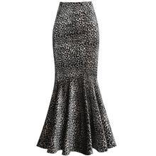 Для женщин бархатные леопардовые юбка с принтом осень-зима Высокая Талия офисная юбка-годе «русалка» женские ботильоны Длина длинная юбка-годе
