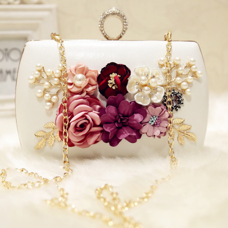 2019 High Quality Luxury Handmade Flowers Evening Bags Brand Dinner Clutch Purse With Chain Flower Banquet Bags