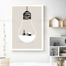 Snow Scene Decoration Painting Tree and Wooden House In Light Bulb Home Decoration Living Room Canvas Painting Wall Art Poster
