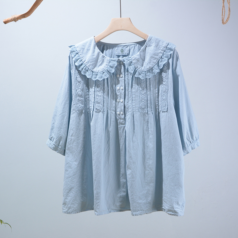 Summer new short sleeve Peter pan collar shirt top fresh solid Embroidery Flower Top Female