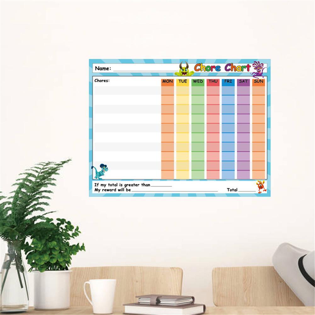 Chore Chart-6-Pack Dry Erase Reward Chart For Kids Teach Children Responsibility Good Behavior Self-Adhesive Potty Chart