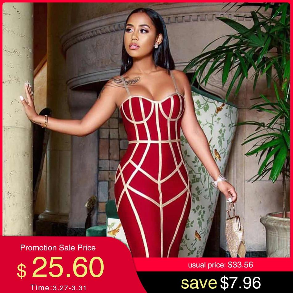 Adyce 2020 New Summer Bodycon Bandage Dress Women Vestido Sexy Spaghetti Strap Sleeveless Club Hot Celebrity Evening Party Dress
