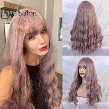 ALAN EATON – perruques synthétiques longues ondulées avec frange Lolita, perruque de fête Cosplay lilas violette brune pour femmes, perruques Afro naturelles