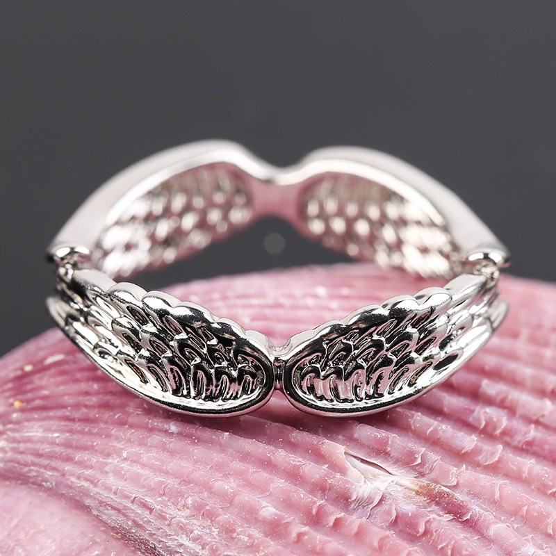 Exclusive Silver Plated Angel Wings Ring For Men Women Gothic Steampunk Party Anniversary Ring Adult Unisex Jewelry Gift H4T739 4