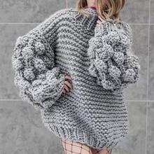 2019 autumn and winter sweater women hand-woven ball lantern sleeves set wom