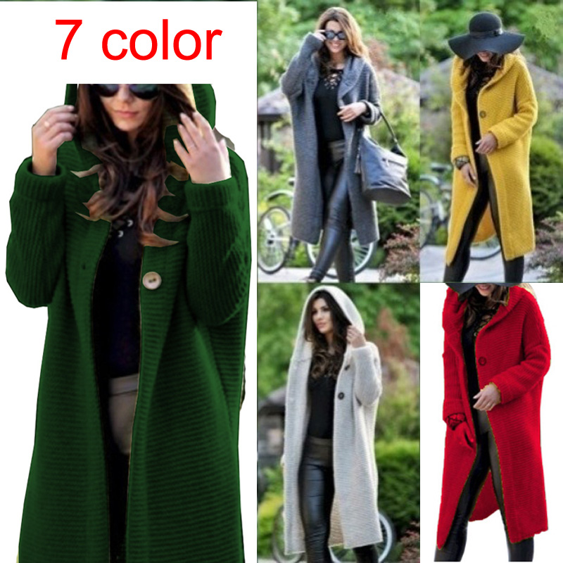 Sweater Female Cardigan Women S Long 2019 Autumn Winter Plus Size Grey Green Yellow Sexy Casual Knit Ware Loose Free Ship