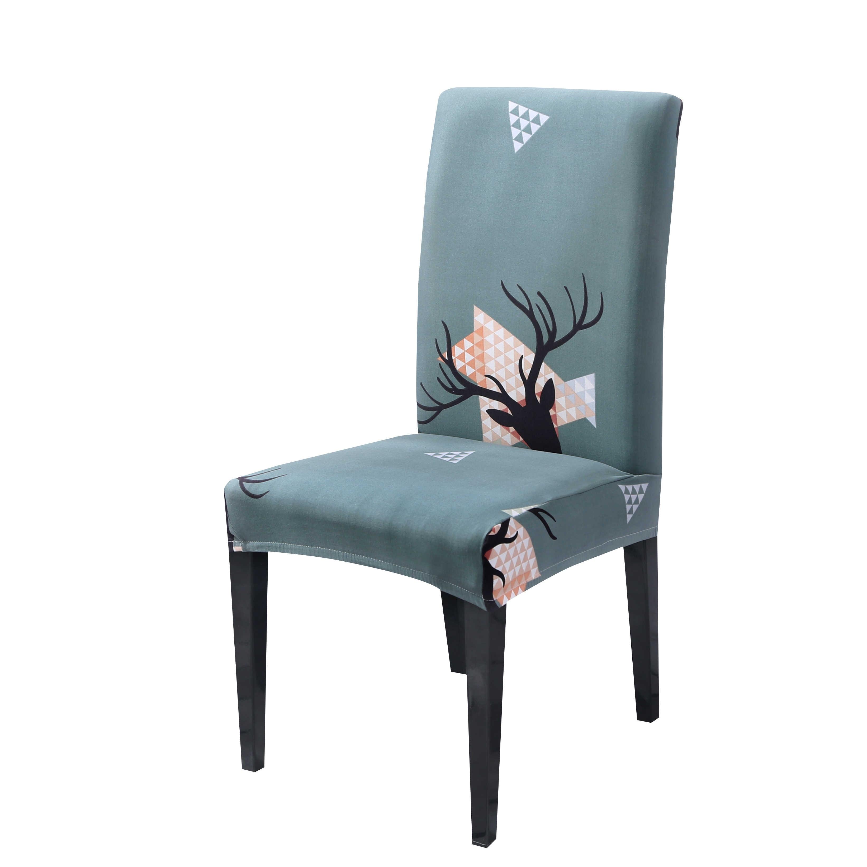Cubierta de silla de Navidad fundas de LICRA para silla de cubierta elástica para sillas adornos navideños para el hogar Silla de comedor, 1pc