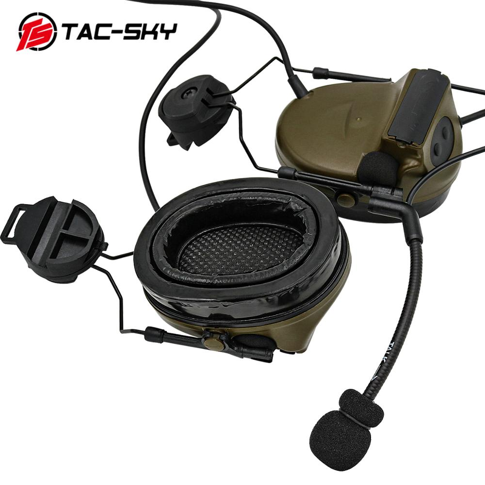 TAC -SKY PELTOR Series COMTAC COMTAC II ARC OPS-CORE Helmet Track Adapter Bracket Headset Silicone Earmuffs Tactical Headset FG