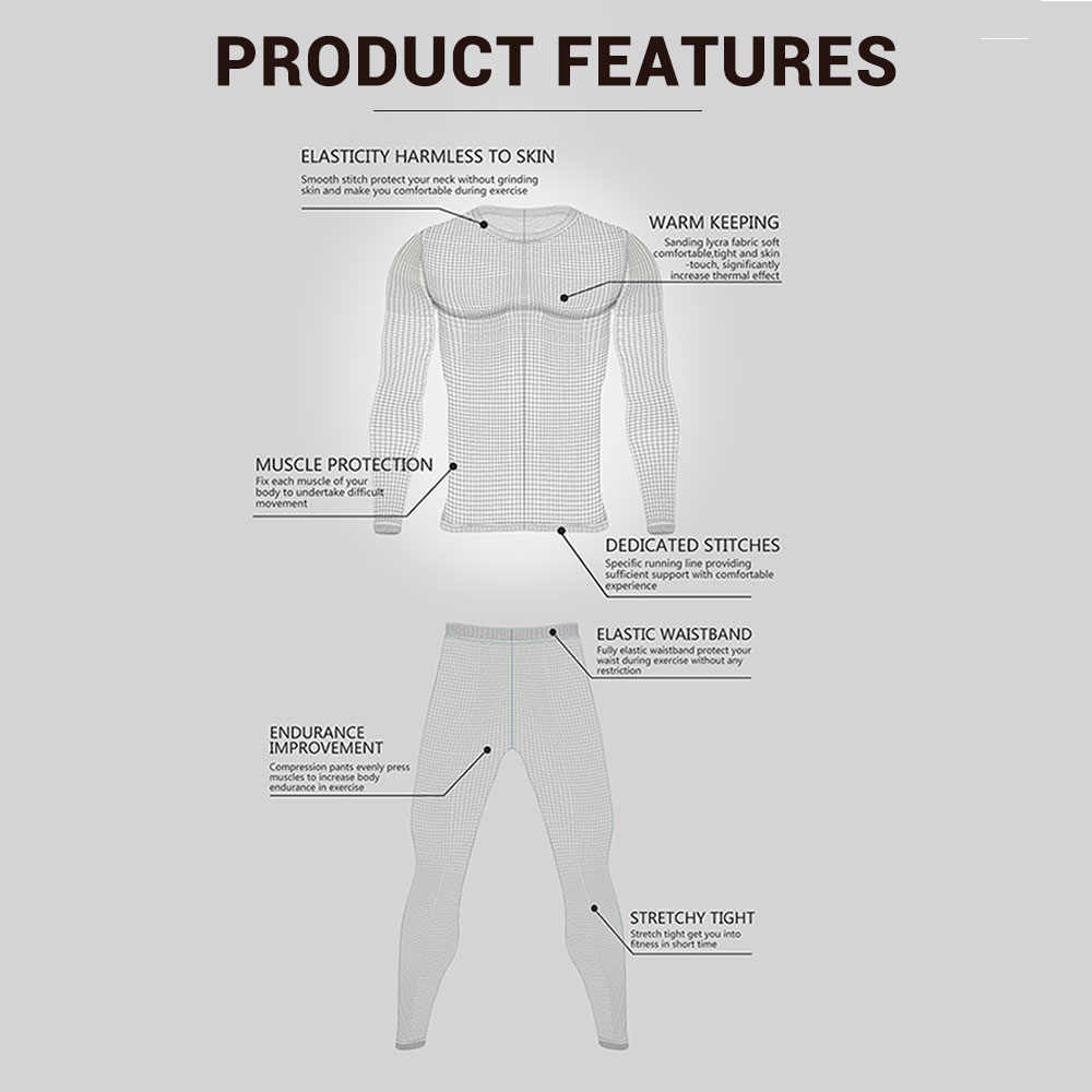 Mens Thermal Underwear Set Fleece Lined Tops Long Johns Warm Base Layer for Skiing