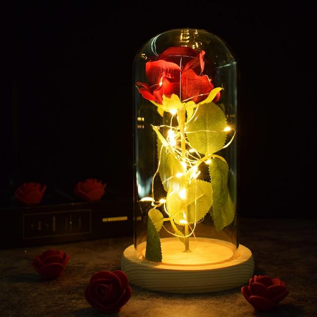 Beautiful Battery Powered LED Rose Glass Bottle String Light Desk Lamp Romantic Valentine's Day Birthday Gift Home Decoration 4