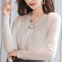 купить Women Sweater Knitted Top tie design knitted shirt sexy solid color butterfly Bow undershirt Fashion Slim fit Women Tops 10F по цене 943.75 рублей