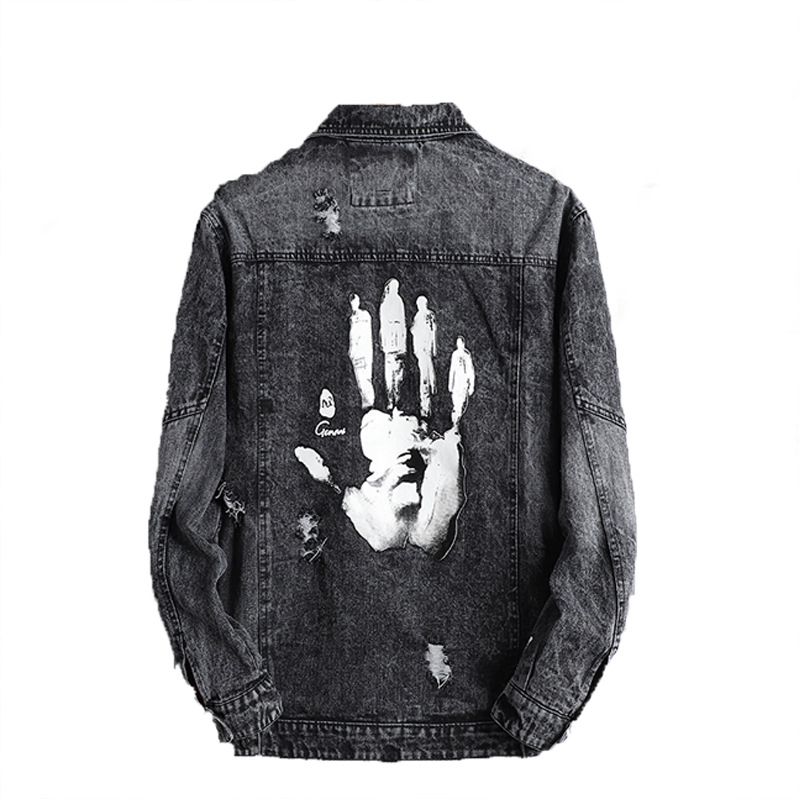 Fashion Harajuku Handprint Retro Rock Vintage Gray Denim Jacket Men Boyfriend Punk Sweatshirt Sudadera Streetwear Cowboy Hiphop