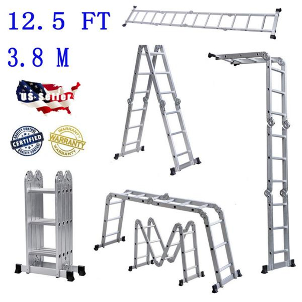 Practical 12-Step Joints Aluminum Folding Ladder Silver Tool Ladder