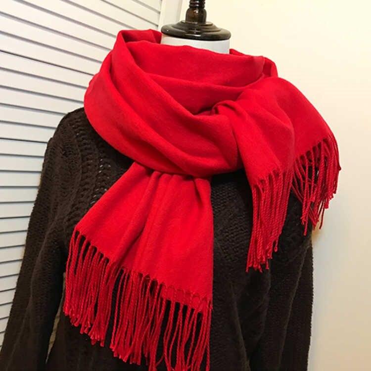 Women Winter Scarf 2020 Pure Cashmere Scarves Thicker Neck Warm Headband Hijab Lady Shawls Wraps Blanket
