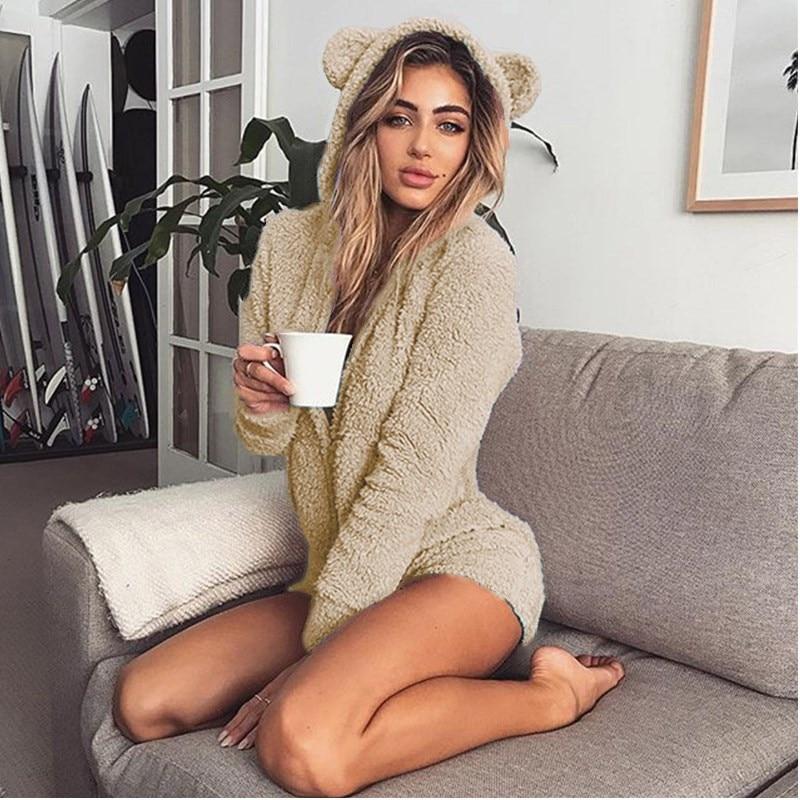 5XL Women Jumpsuits Fleece Pajama Bear Ear Hooded Bodysuit Shorts Winter Warm Tracksuit Streetwear One-piece Sleepwear Plus Size 19