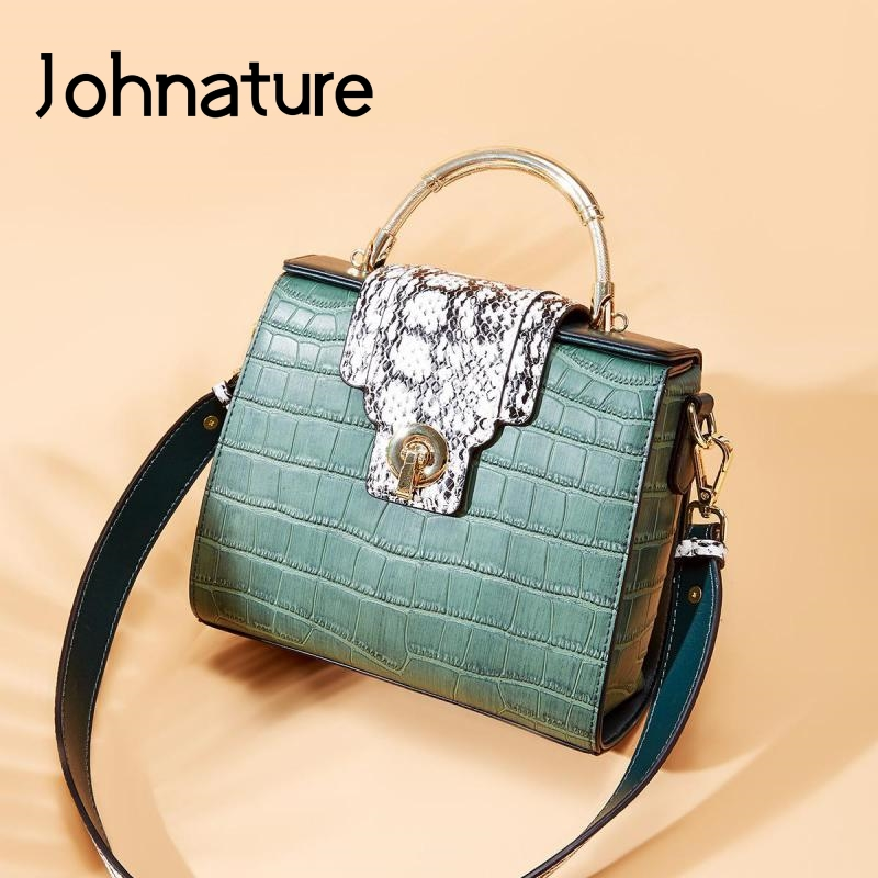Johnature Ladies Hand Bags Shoulder Luxury Cow Leather Bag 2020 New Fashion Alligator Messenger Bag Leisure Female Shoulder Bags