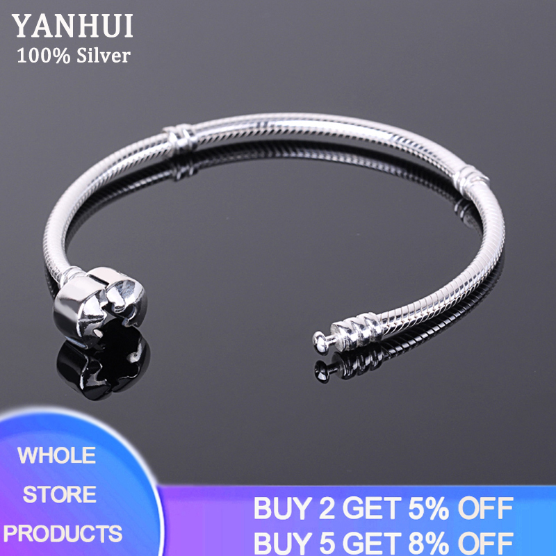 Free Sent Certificate Women DIY Beads Charms Bracelet Bangle Original 925 Silver 3mm Snake Chain Bracelet With S925 Test ESL925
