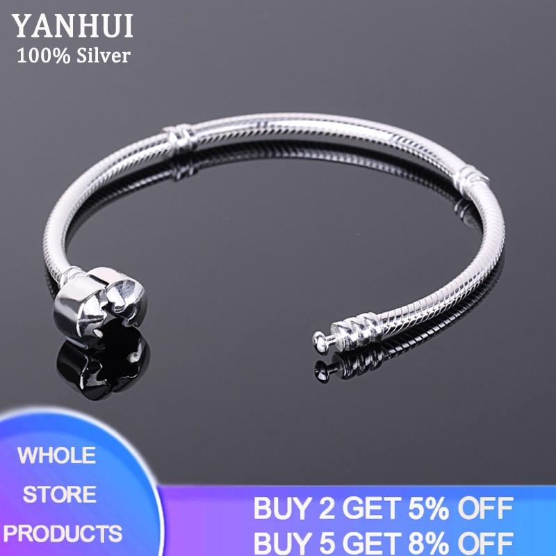 Free Sent Certificate Women DIY Beads Charms Bracelet Bangle Original 925 Silver 3mm Snake Chain Bracelet with S925 Test ESL925