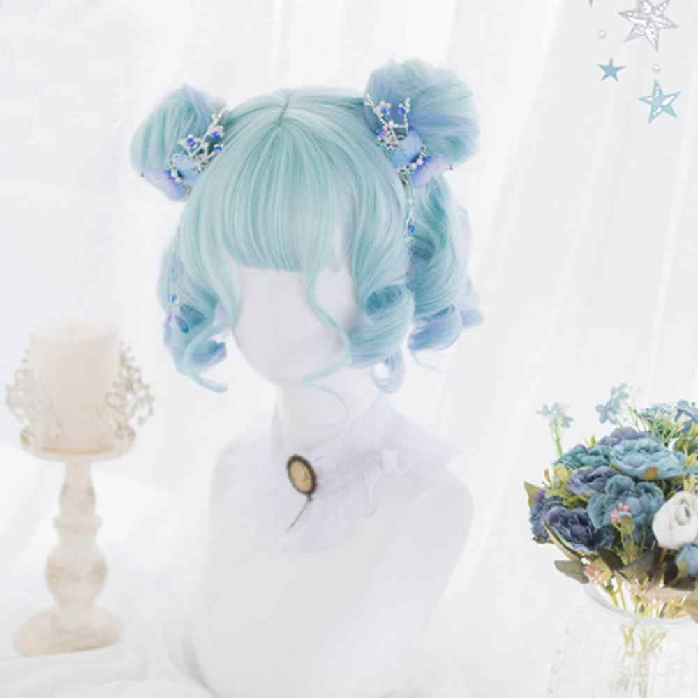 CosplayMix 25-45CM Heat Resistant Lolita Mixed Pink Blue Ombre Bob Curly Buns Bangs Short Synthetic Hair Cosplay Wig+Cap