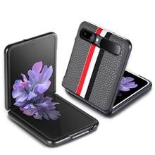 Thời Trang Hột Đeo Chéo Hoa Văn Cho Samsung Galaxy Z Flip Cover Chống Va Đập Cao Cấp Da Trơn Dệt Trường Hợp Cho f7000 2021