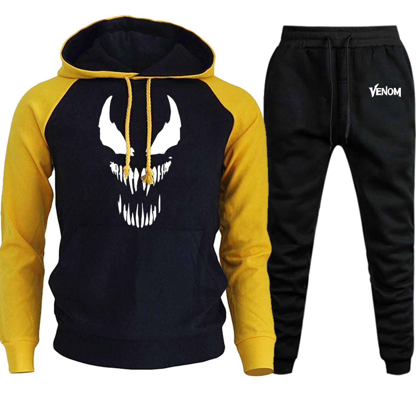 Venom Raglan Mens Hoodies Sweatshirts Autumn Winter New 2019 Suit Male Casual Fleece Hooded Marvel Pullover+Pants 2 Piece Set