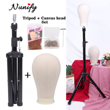 Nunify Black Heavy Duty Manikin Head Tripod With Canvas Head Mannequin Head Wig Display And Stand For Wig Styling