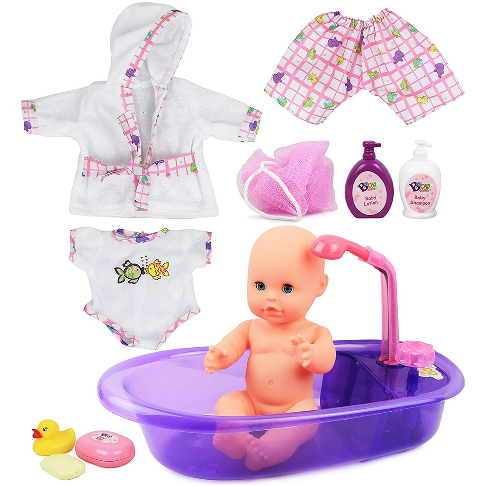 Beby Bathtub Play Doll Toys Set Baby Bath Paly Toys Children Educational Bathtime Play Dollhouse Toy Set Christmas Birthday Gift